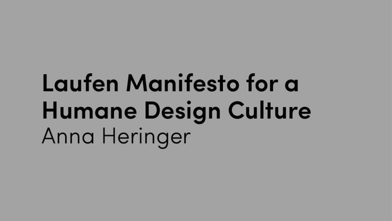 Laufen Manifesto for a Humane Design Culture | urbanNext